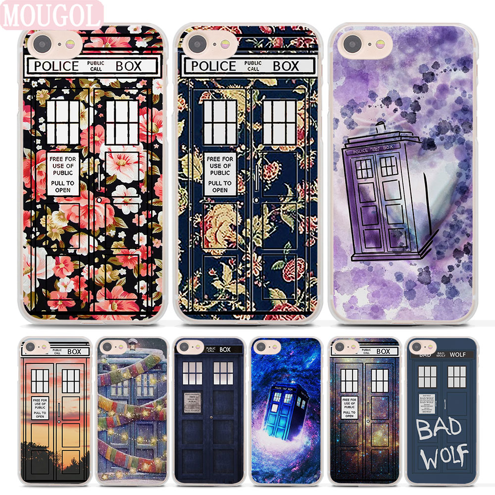 MOUGOL Floral TARDIS Tardis Doctor Who Style hard clear phone shell case for Apple iPhone 8 8Plus 7 7Plus 6 6sPlus X SE 5 5s 4s