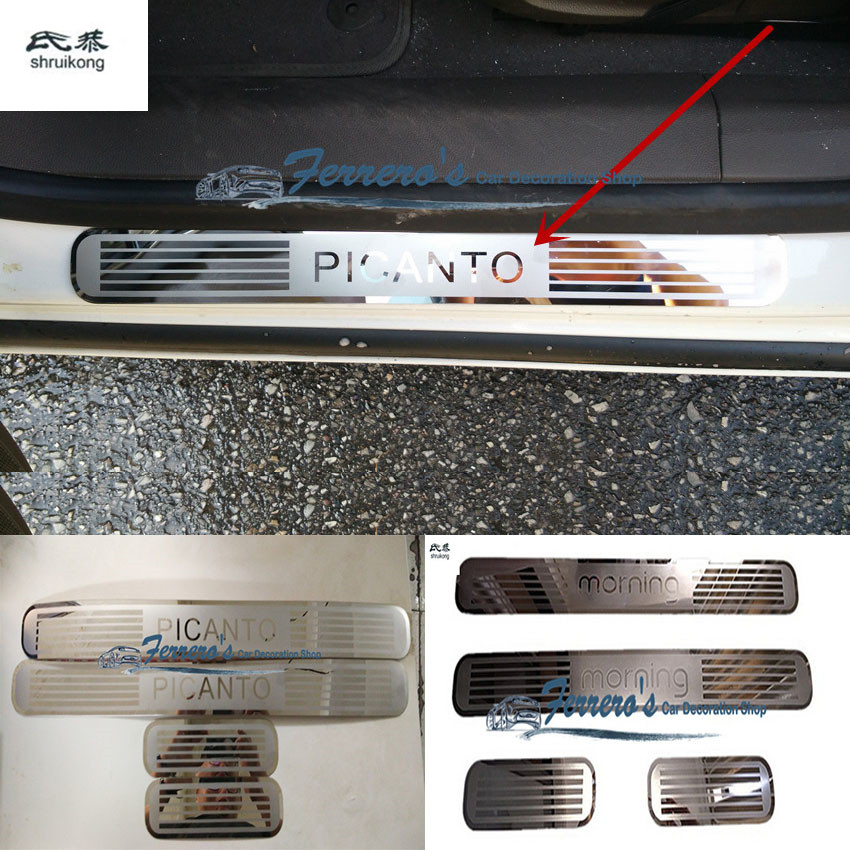 Free shipping 4pcs/lot car stickers for 2011-2015 KIA PICANTO MORNING ultra-thin Stainless Steel Door Sill Scuff Plate