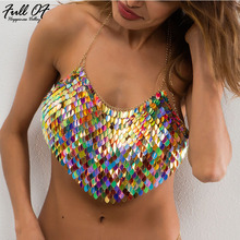 Sexy Women Tops Novelty Sparkling Sequins Metal Breast Chain Summer crop Top Beach Halter Luxury Nightclub Party sexi Vests HL