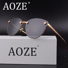 AOZE girl women cat eye Luxury sun glasses Polarized metal frame Flowers carving mirror eyeglasses Pink lens Super loves UV400