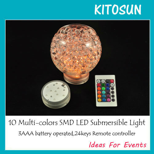 4pcs/lot Remote Controlled Multicolor Submersible Light Base For Lighting Up Ice Bucket,Crystal Vases Wedding Party Decoration