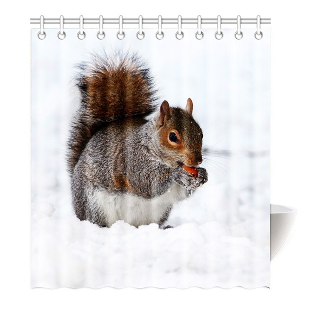 Funny Eat Nuts And Squirrels Shower Curtain Printing Waterproof Mildewproof Polyester Fabric Bath Bathroom