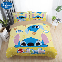 Disney Cute stitch bedding set 3 pcs single double twin full queen king size cartoon girls bed cover pillow cases room decor