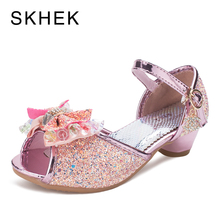 SKHEK Kids Princess Girls Shoes Sandals Butterfly Children Bowtie Hight Heels Slip on Party Dance