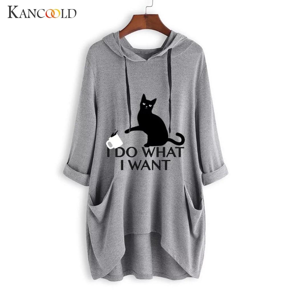 Women Casual Printed Cat Ear Hooded T-Shirt Long Sleeves Pocket Irregular fashion 9