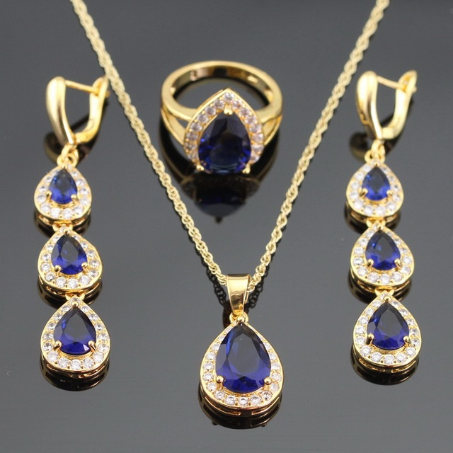 Created Long Water Drop Blue&White CZ Gold Plated Christmas Jewelry Sets For Women Necklace Pendant Rings Drop Earrings
