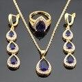 Criado Gota de Água Longa Blue & White CZ Banhado A Ouro Anéis Brincos Conjuntos de Jóias Para As Mulheres Colar de Pingente de Natal