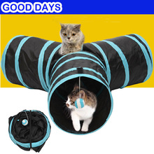 Fold Pet Cat 3 Holes Tunnel Indoor Outdoor Cats Training Toys for Kitten Rabbit Animals Play Tubes toys