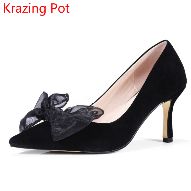 New Arrivel Sheep Suede High Heels Stiletto Solid Shallow Butterfly-knot Women Pumps Pointed Toe Handmade Wedding Shoes L7f1 2017 spring women retro pumps solid slip on sweet butterfly knot round toe med square thick heels shallow female shoes plus size