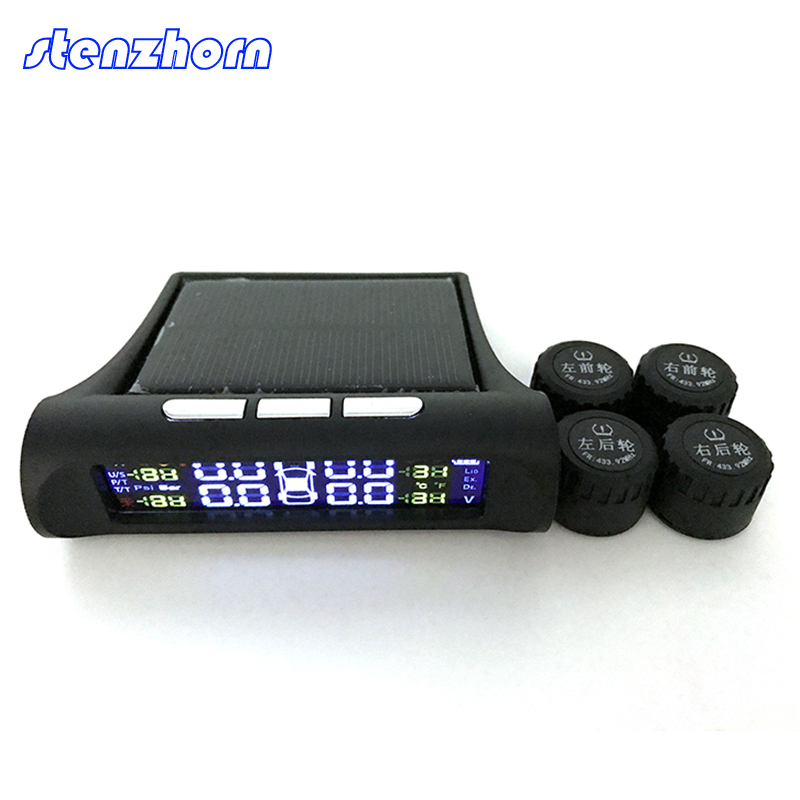 Stenzhorn Universal Car LCD TPMS Tire Pressure Monitoring System Tire Pressure Sensor Car Alarm Diagnostic-tool Car Styling HUD hotaudio tpms app car tire pressure monitoring system car tire diagnostic tool support bar and psi