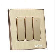 Wall Switch Socket Magnesium Aluminum Brushed Champagne Gold Panel 3 Gang 2 Way Switch, AC 220-250 10A