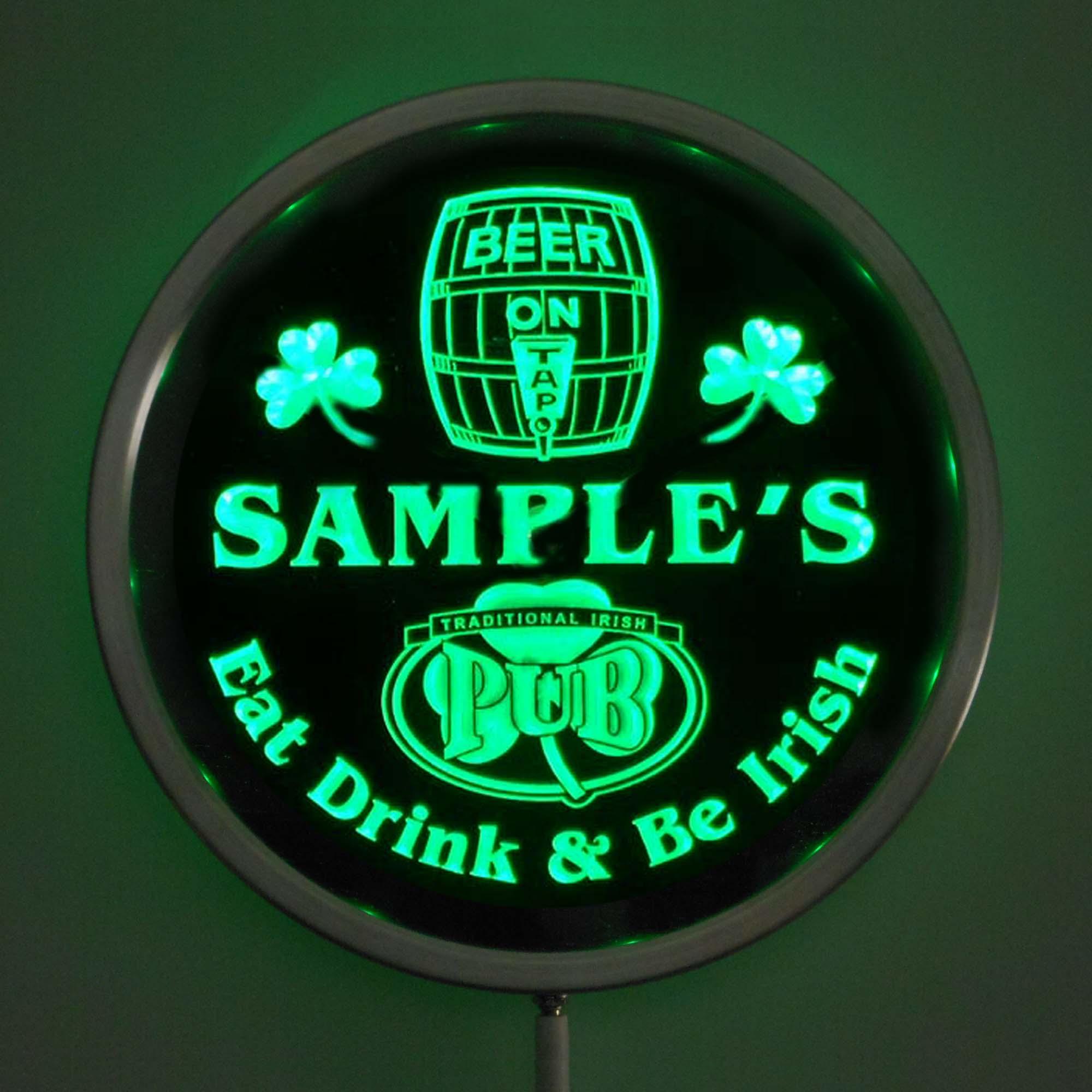 rs-pa-tm Custom LED Neon Round Signs 25cm/ 10 Inch - Personalized Irish Pub Bar Sign RGB Multi-Color Remote Wireless Control