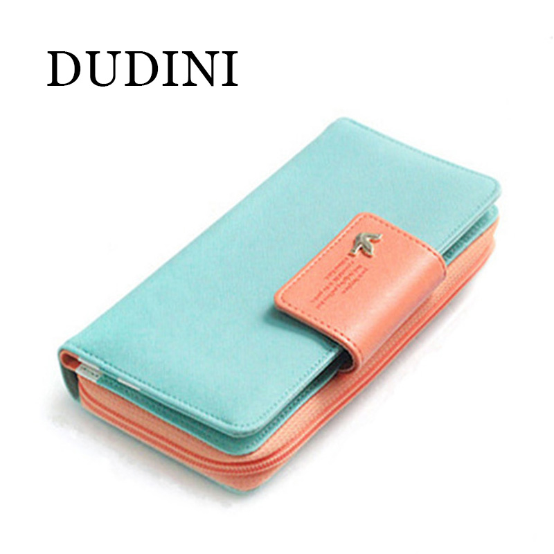 DUDINI New Fashion Women Wallet Candy Colors Panelled Design Ladies Wallet High Hasp Zipper Purse Clutch Coin Pocket Card Holder casual weaving design card holder handbag hasp wallet for women