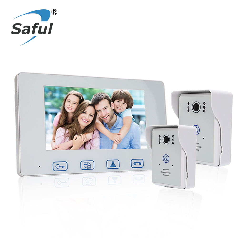 Saful 7''color TFT LCD Waterproof wired video door phone door video intercom with Night vision for Home Electric unlock function 7 inch video doorbell tft lcd hd screen wired video doorphone for villa one monitor with one metal outdoor unit night vision