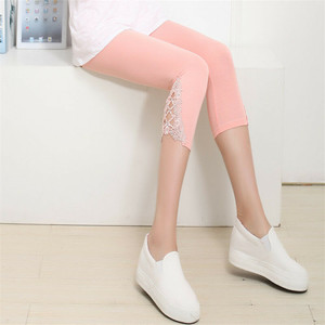 Image 1 - Hot Womens Crop 3/4 Length Leggings Clothes Ladies High Waist Pants Capri Cropped Lace Summer Modal High Quality Pants New