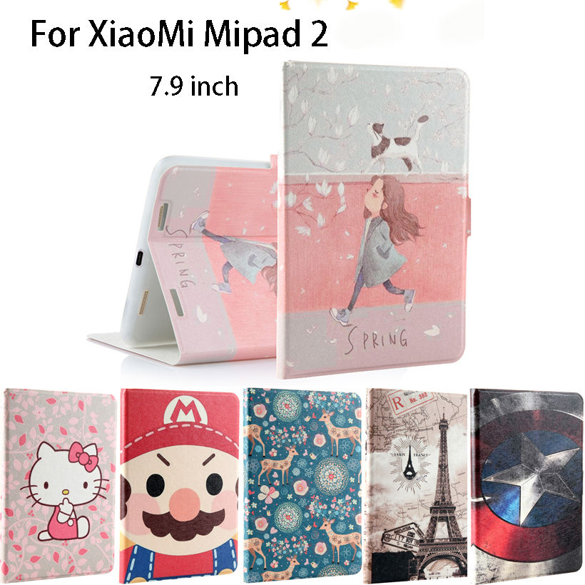Fashion Painted Silicon PU Leather Case For Xiaomi Mipad 2 mipad2 Mipad3 Mipad 3 7.9 Funda Tablet Smart Cases Sleep Cover shell tablet protective case shell skin for xiaomi mi pad 1 mipad 1 pu leather stand tablet cover fundas mi a0101 case screen film pen