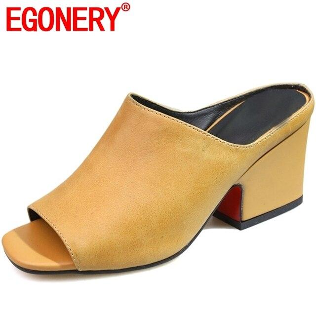 EGONERY pistoni delle donne 2019 di estate di nuovo stile fuori lato di alta qualità scarpe di cuoio genuino di alta moda tacco sandali tacco alto