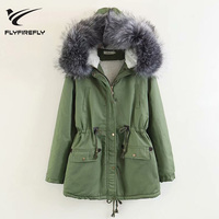 2018 New Fashion Army Green Parkas Jacket Women Thickening Zipper Hooded Coat Casual Winter Warm Female Jackets Outwear Parka
