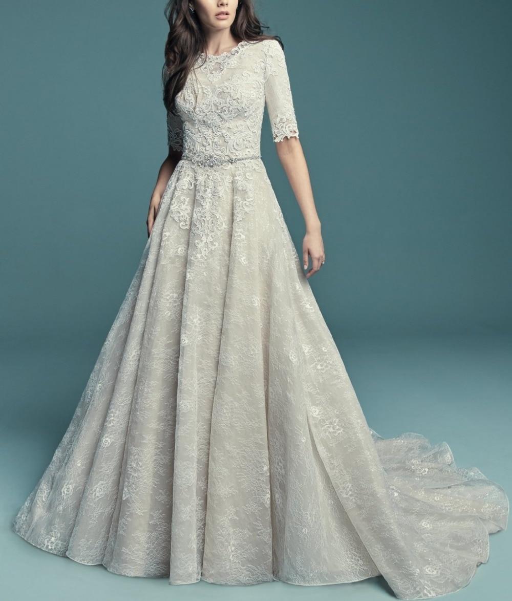 Vintage A Line Lace Long Modest Wedding Dresses With Half