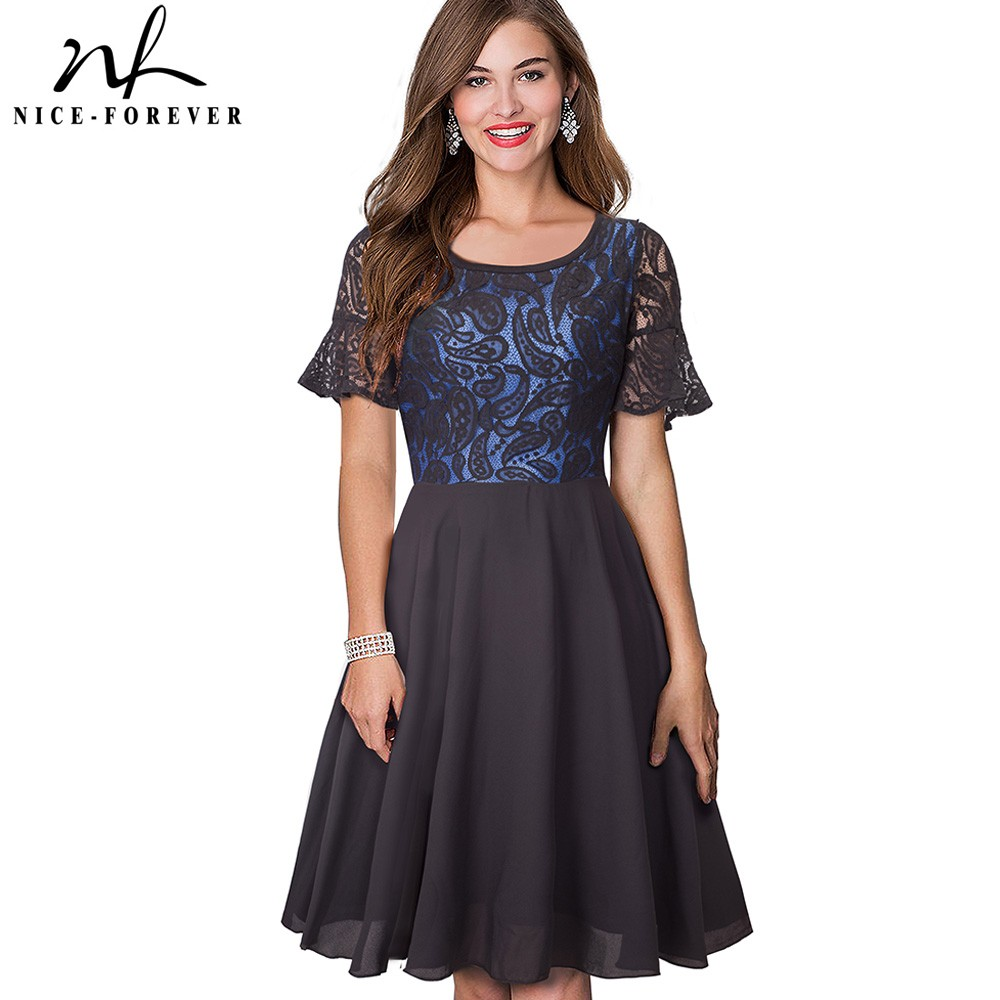 317f1cb7d Nice-forever Summer Stylish Flutter Sleeve Lace Patchwork vestido Casual  Office Flare A-Line