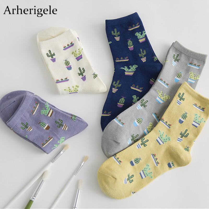 Arherigele 2pcs 1pair Cute Cartoon   Socks   Fashion Cactus Women Cotton   Socks   Winter Warm Low Cut Short Female   Socks   Ankle   Sock