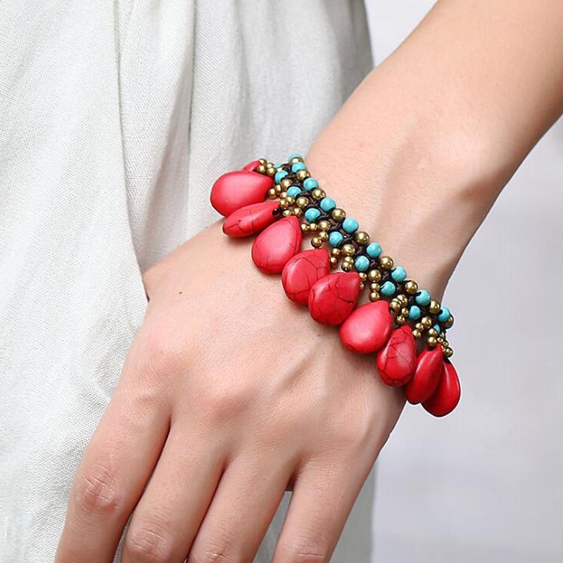 0051042a0f8a Pulseras y brazaletes ajustables bohemios LOVBEAFAS para mujer pulseras  Boho Vintage tejidas hechas a mano rojo azul Joyería de piedra blanca