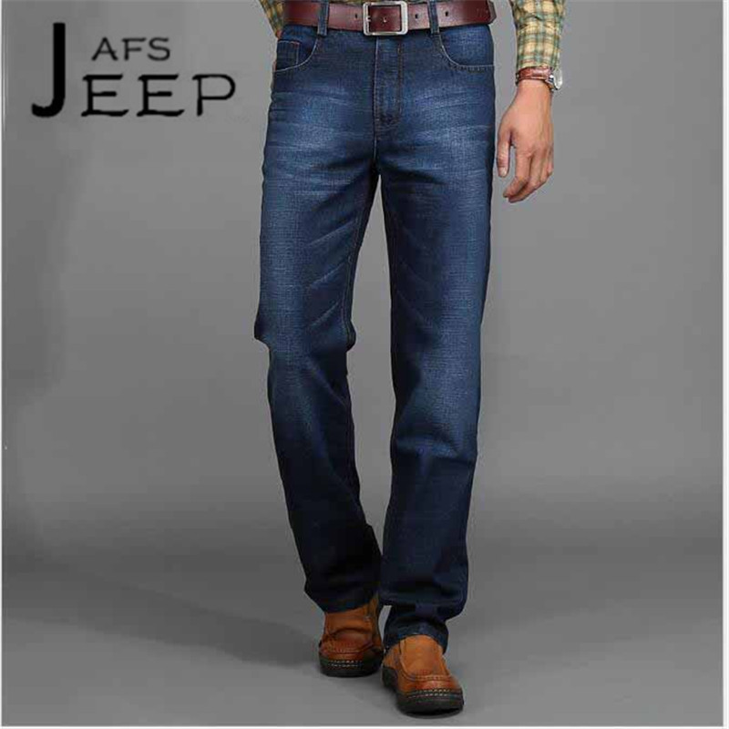 AFS JEEP Autumn/Winter Brand Man's Leisure Denim Jeans,big Size 40/42/40 Esportes leisure Cotton Thick Overall Blue pantalones new afs jeep brand autumn and winter man jeans men pants straight cotton male denim brand jeans more pocket overalls