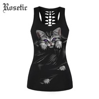 Rosetic Goth Tank Tops Black Animal Slim Women Summer Hollow Print Fashion Sexy Club Rock Moto
