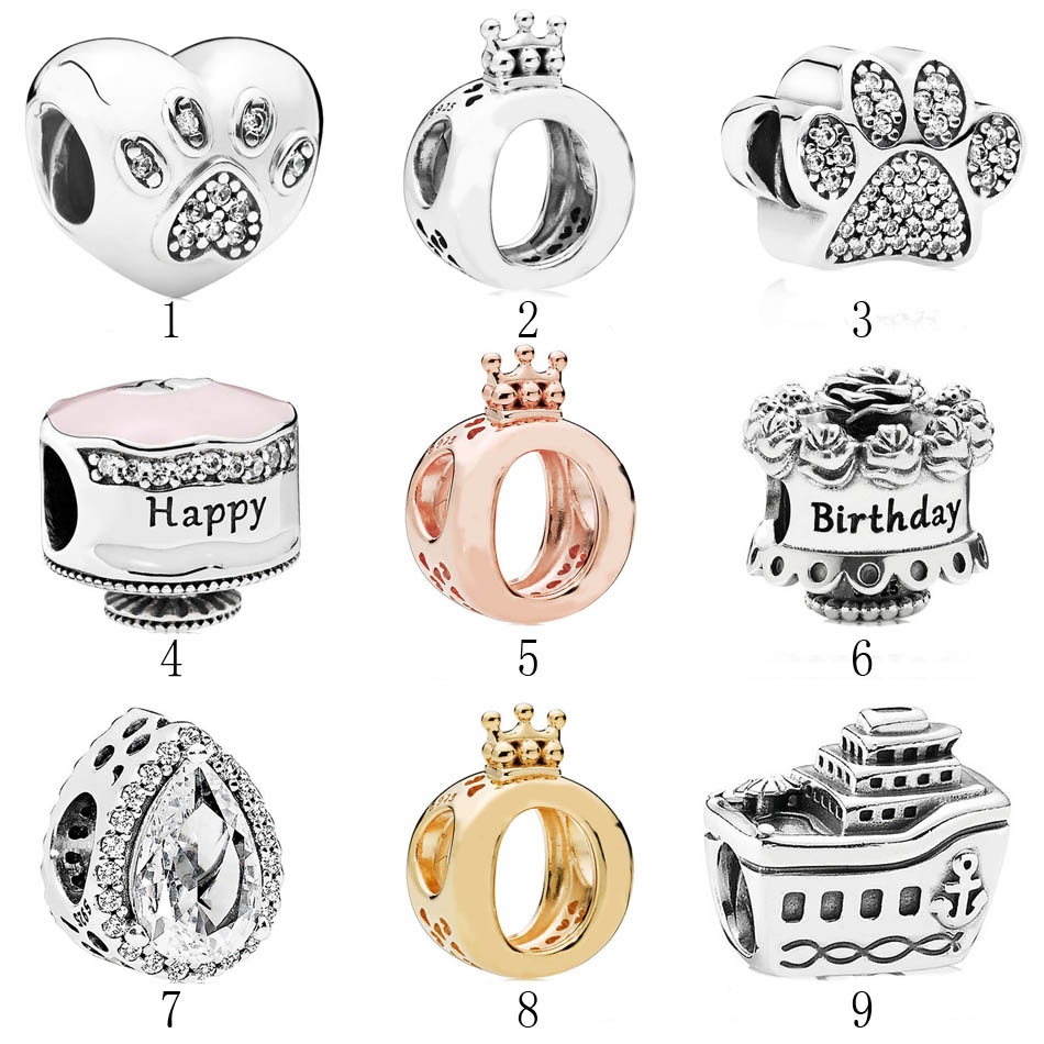 Authentic 925 Silver DIY Jewelry Paw My Pet Crown O Happy Birthday Teardrop Cruise Charms fit Pandora Bracelet BangleAuthentic 925 Silver DIY Jewelry Paw My Pet Crown O Happy Birthday Teardrop Cruise Charms fit Pandora Bracelet Bangle