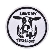 1pcs COW DIY Patch Badge Embroidered Cute Badges Hippie Iron On Kids Cartoon For Clothes Stickers Sewing Patches(China)
