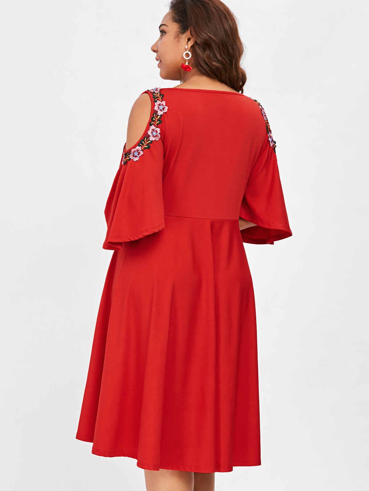 d9198ba05a2d3 Wipalo Plus Size 5XL Floral Embroidery A-Line Dress Casual V-Neck Knee  Length Cold Shoulder Dress Women Spring Summer Vestidos