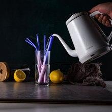 Красочные меняющиеся металлические соломинки для питья из нержавеющей стали 304, чувствительные к температурам с чистящей щеткой, вечерние аксессуары
