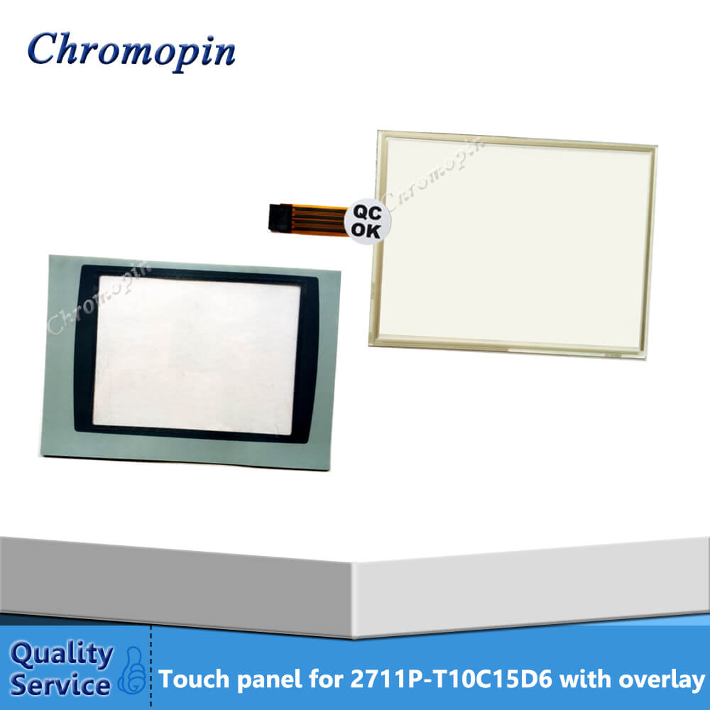 Touch Screen for AB PanelView Plus 1000 2711P-T10C15D6 2711P-T10C15D7 2711P-T10C6A6 2711P-T10C6A7 with Overlay film new allen bradley 2711p t10c4d1 2711p t10c4d2 touch screen ab panelview 2711p
