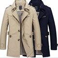 2016 capa de la Chaqueta primavera otoño chaqueta de los hombres ocasionales lavados larga prendas de abrigo y abrigos para hombre de algodón chaquetas de invierno Homme abajo parka M-5XL
