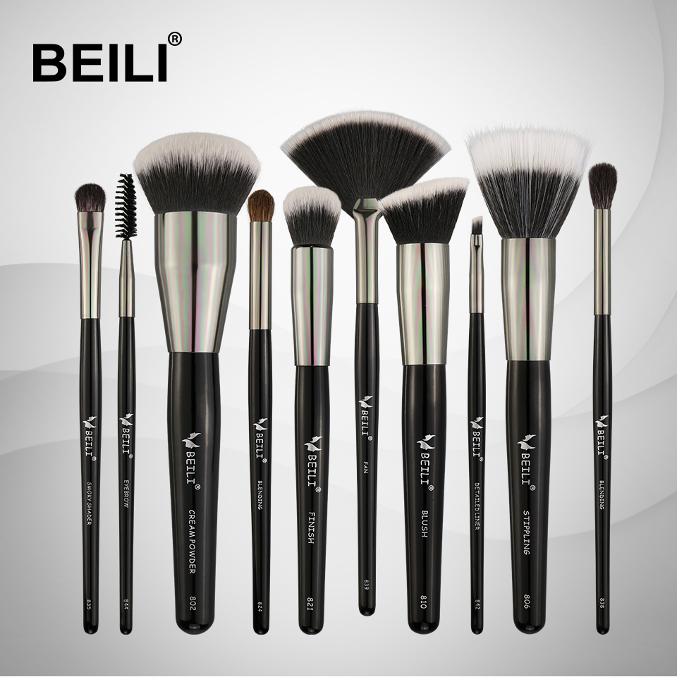 BEILI 10pcs Professional Makeup brushes Set Synthetic Hair Pony Goat hair Blusher Powder Foundation Eyeshade Blending Highlight beili 12 pieces black premium goat hair synthetic powder foundation blusher eye shadow concealer makeup brush set cosmetic bag