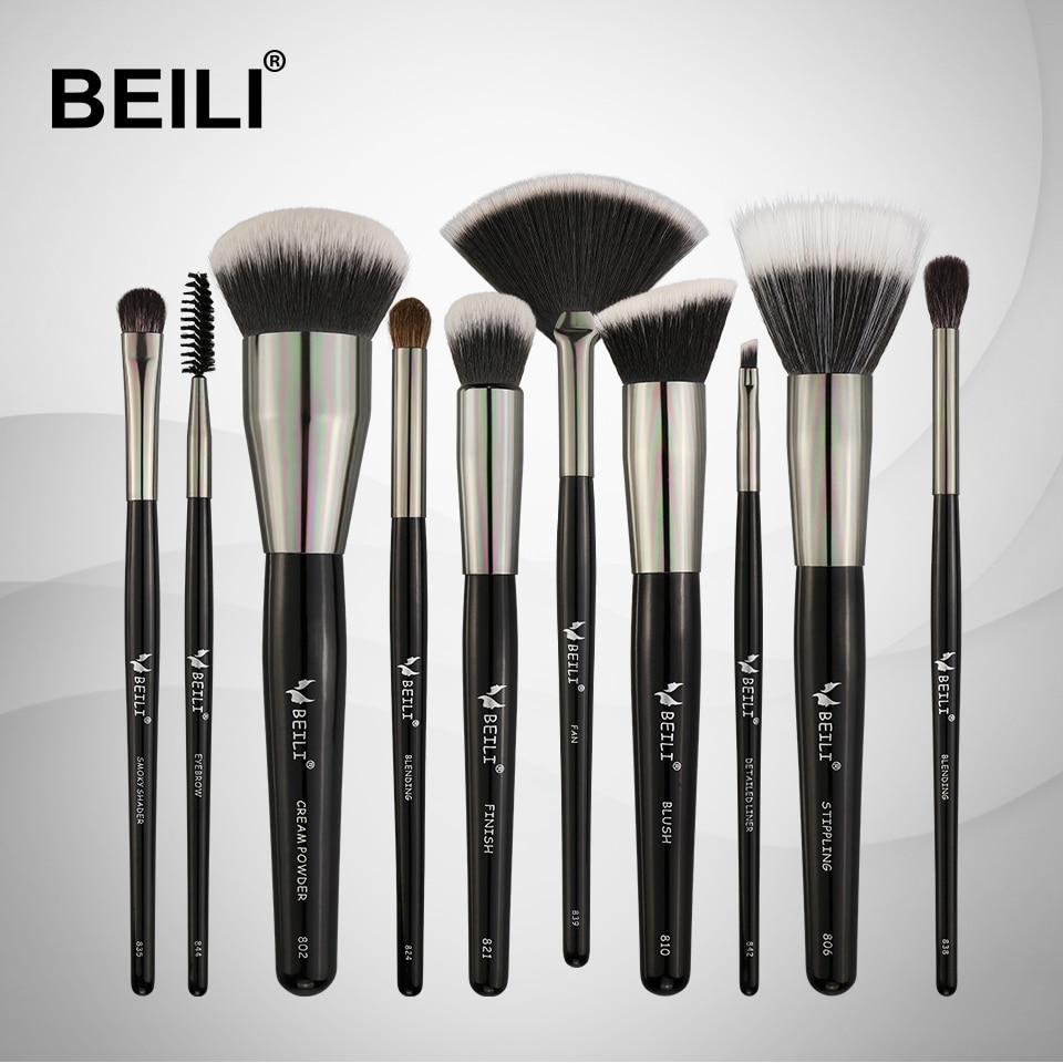 BEILI 10pcs Professional Makeup brushes Set Synthetic Hair Pony Goat hair Blusher Powder Foundation Eyeshade Blending Highlight цена