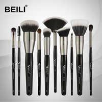 BEILI 10pcs Professional Makeup brushes Set Synthetic Hair Pony Goat hair Blusher Powder Foundation Eyeshade Blending Highlight