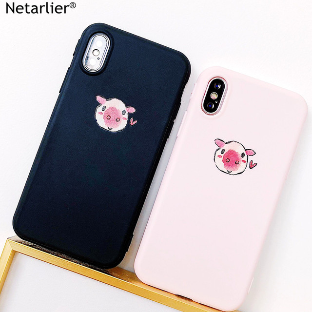 newest 19e36 ad3e8 US $3.99 |Netarlier Cute Plain Candy Case For iPhone X Black Pink Lovely  Piglet Couple Design Protective Thick TPU Soft Phone Case Cover-in Fitted  ...