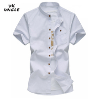 YK UNCLE Brand 2017 Summer Casual Fashion Classic Solid Men Shirt Cotton Linen Stand Pocket Decoration