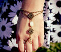 2pcs Womens Asymmetric Turquoise Bracelet Finger Ring Lucky Harness Slave Hand Chain Jewelry For Women