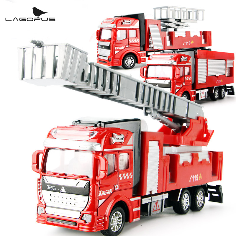High Quality 1 50 Alloy Model Toy Aerial Rescue Fire Truck Kids Educational Toys Children Collection