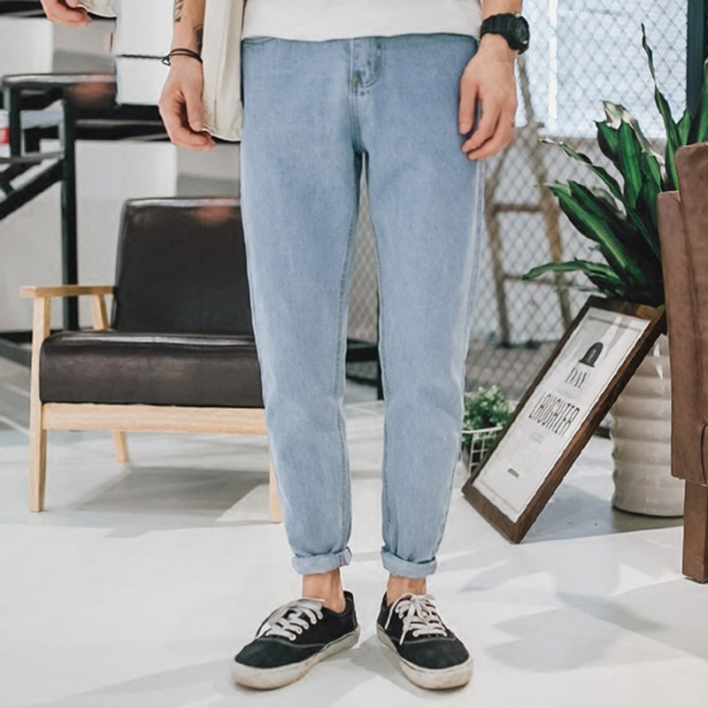 Fashion 2019 spring Autumn literary light color   jeans   washing Loose young men's pants Hip Hop Harem denim Cowboy ankle   Jeans