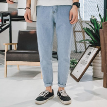 Fashion 2019 spring Autumn literary light color jeans washing Loose young men's