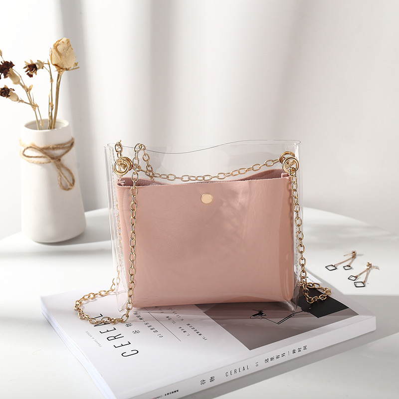 2019 Design Women Transparent Bucket Bag Female Chain Crossbody Messenger Bags Clear PVC Jelly Small Shoulder Bag Luxury Handbag