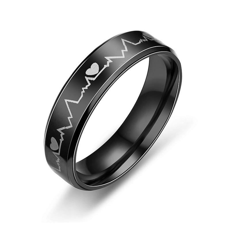 Fashion hot Men's Women's Creative ECG Design Heartbeat Titanium Steel Rings 2020 Classic Black Titanium Wedding Rings jewelry