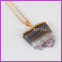 1pc Lot Nature Amethyst Crystal Gem Stone Charm Pendant Free Form 22K Gold Plated No Fading