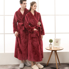 QWEEK Autumn Winter Male Robe Flannel Men Sleepwear Thick Ba