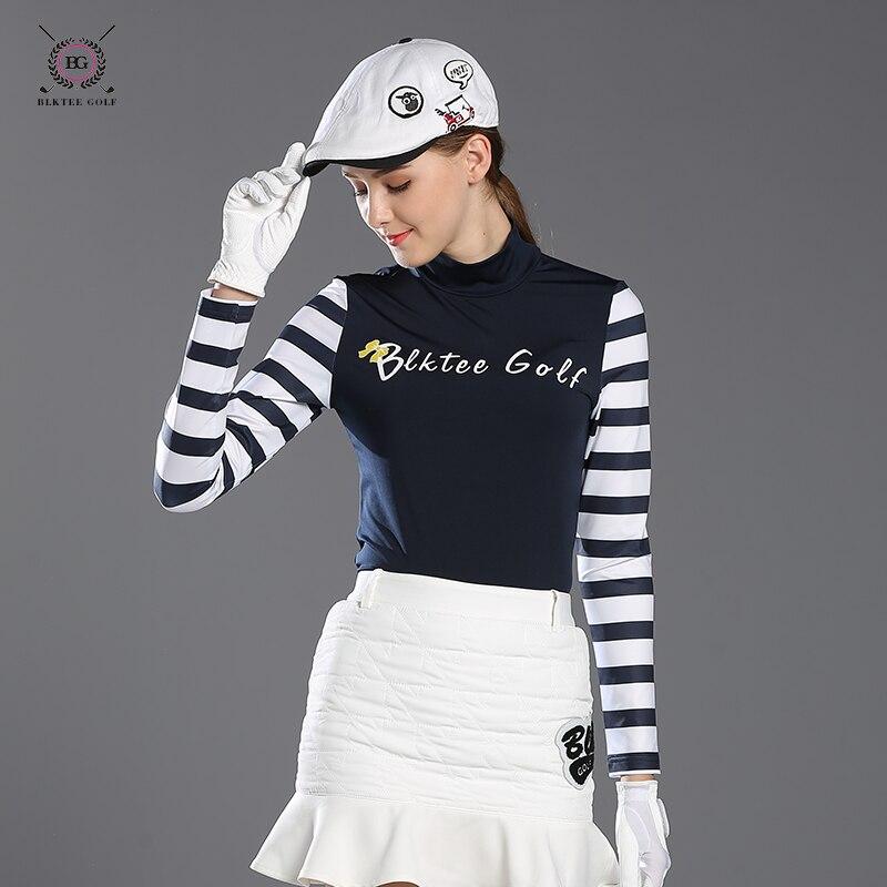 BLKTEE golf shirts women long-sleeve autumn sports shirt Lady o-neck stand collar slim straitest top sunscreen jersey girl pink