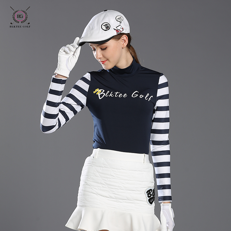 BLKTEE golf shirts women long-sleeve autumn sports shirt Lady o-neck stand collar slim straitest top sunscreen jersey girl pink blktee new golf winter skirts wool thicken thermal short skirt autumn sportswear white navy stripped bright 2 colors s xl lady