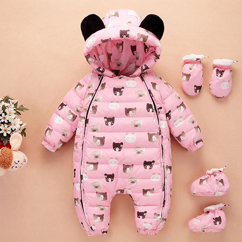 2018 New Russia Winter Baby Girls Boys Snowsuit Ski Suit Overall Children Warm Coat Duck Down Baby Romper Toddler Jumpsuit E167 kindstraum baby down rompers for russia winter toddler kids warm overall trousers duck down boys girls jumpsuit waterproof mc888